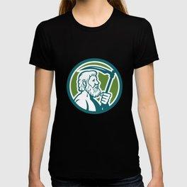 Cronus Holding Scythe Circle Retro T-shirt