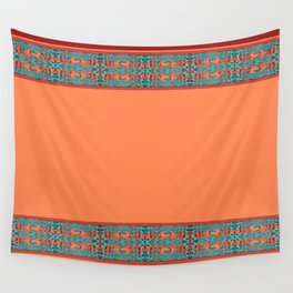 Abstract Waves - Peach and Aqua Wall Tapestry