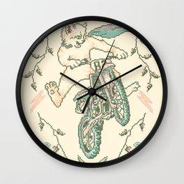 Motocross-Stitch Kitteh Wall Clock
