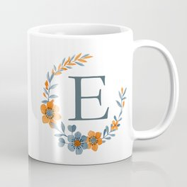 Monogram E Orange Autumn Floral Wreath Coffee Mug