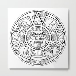 Pencil Wars Shield Metal Print