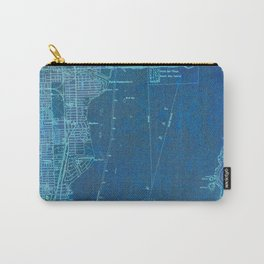 Miami Florida vintage map year 1950, blue usa maps Carry-All Pouch