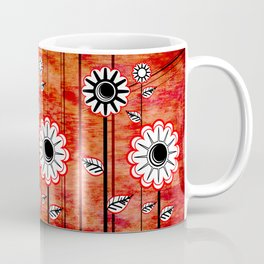 Retro Flowers on textured red Coffee Mug