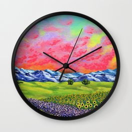 Sunflowers and Lavender In Provence France by Mike Kraus - french mediterranean nature cote d'azur Wall Clock