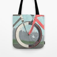 tour de france Tote Bags featuring Tour De France Bicycle by Wyatt Design