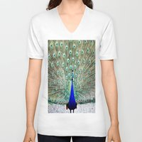 peacock V-neck T-shirts featuring Peacock by Whimsy Romance & Fun