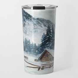 Winter Cabin In The Mountains Travel Mug