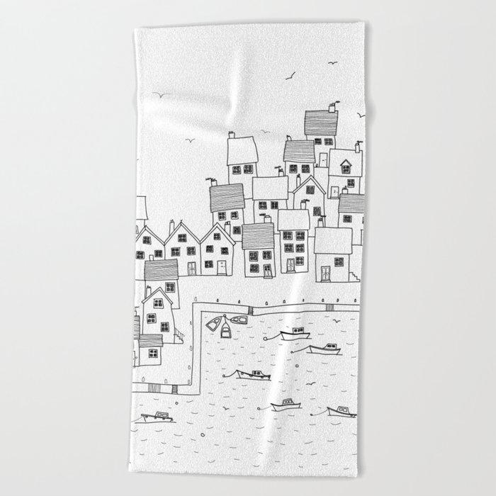 Harbour sketch Beach Towel