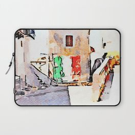 Tortora glimpse with Italian flag painted on the wall of building Laptop Sleeve