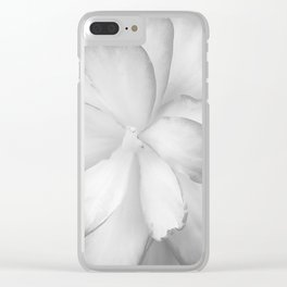 Tuberous Begonia in Black and White Clear iPhone Case