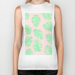 Tropical Pastel Pink and Green Monstera Leaf Biker Tank
