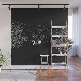 Holding Hands Minimal Floral Art in Black Wall Mural