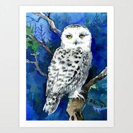 Snowy Owl, Northern Owl, White Owl, Owl art Winter woodland Art Print