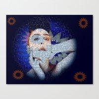 ezra koenig Canvas Prints featuring Ezra by James Nash