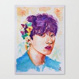 Jungkook et les fleurs Canvas Print