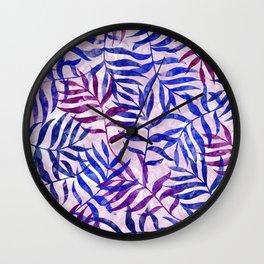 Watercolor Tropical Palm Leaves II Wall Clock