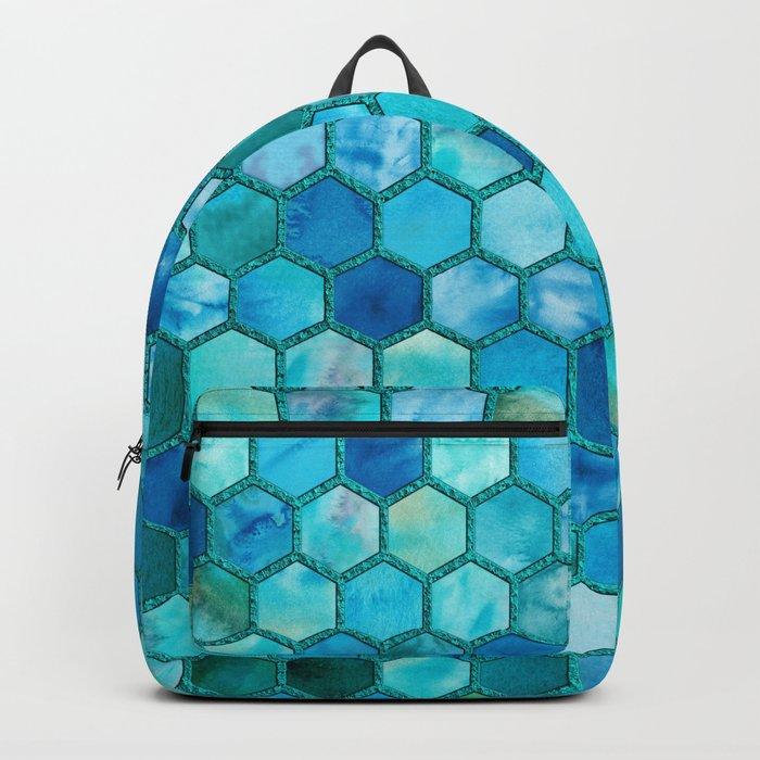 Blue aqua geometric hexagonal elegant & luxury pattern Backpack