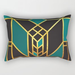 Art Deco Leaving A Puzzle In Turquoise Rectangular Pillow