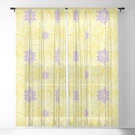 Yellow Swirls with Purple Lotus Flowers Pattern Sheer Curtain