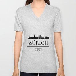 ZURICH SWITZERLAND BLACK SILHOUETTE SKYLINE ART Unisex V-Neck