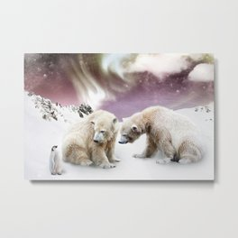 Polar Bears and Penguin Metal Print
