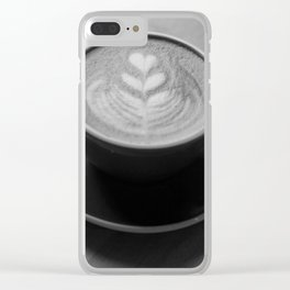 Cafe Heart - Black and White Clear iPhone Case