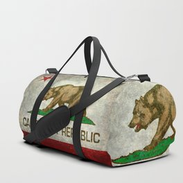 Californian flag the Bear flag in retro grunge Duffle Bag