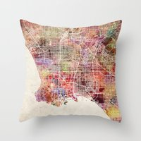 los angeles Throw Pillows featuring Los angeles by MapMapMaps.Watercolors
