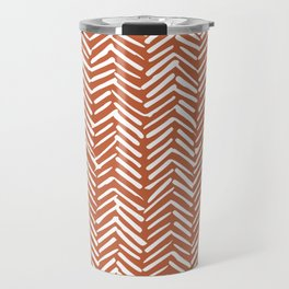 Boho Herringbone, Abstract Pattern, Burnt Rust Orange Travel Mug