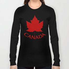Cute Canada Flag Pattern Long Sleeve T-shirt
