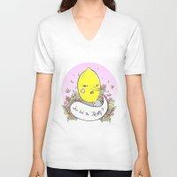lemongrab V-neck T-shirts featuring Earl of Lemongrab Tribute by Sonia Lazo