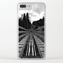 adventure park hög schneisenfeger coaster alps sfl tyrol austria europe black white Clear iPhone Case