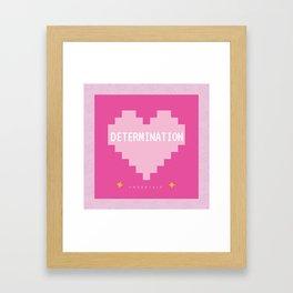 Pink Kawaii Undertale Determination pixel heart Framed Art Print