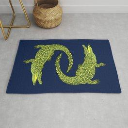 Crocodiles (Deep Navy and Green Palette) Rug