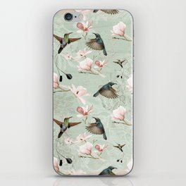 Vintage Watercolor hummingbird and Magnolia Flowers on mint Background iPhone Skin