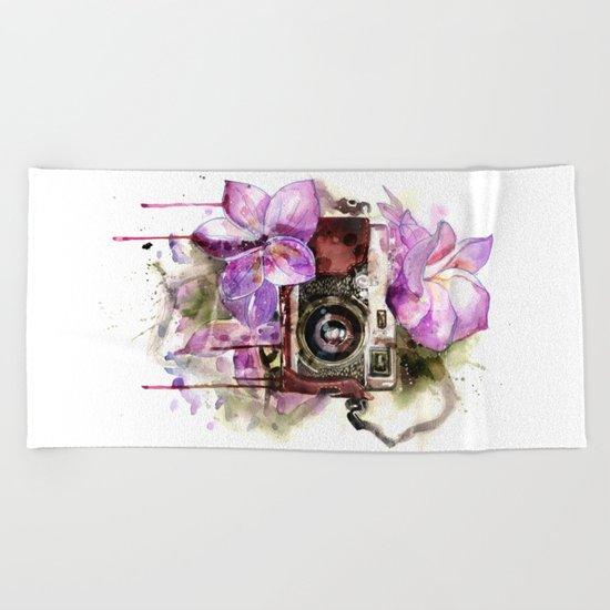 flower camera Beach Towel