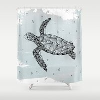 sea turtle Shower Curtains featuring Turtle by Meghan Hill