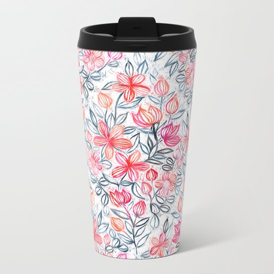 Coral and Grey Candy Striped Crayon Floral Metal Travel Mug