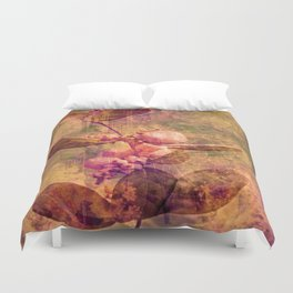White rose Pearls in Autumn Nature Art Duvet Cover