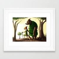 robin hood Framed Art Prints featuring Robin Hood & Little John by Jehzbell Black