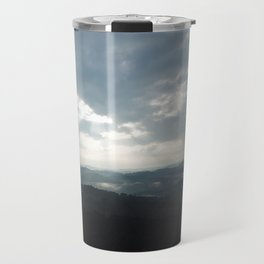 Clouds with Sun Shining on the Mountains Travel Mug
