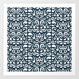 cadence damask - dark blue Art Print
