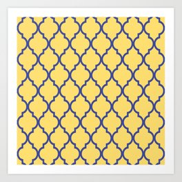 Classic Quatrefoil Lattice Pattern 737 Blue and Yellow Art Print