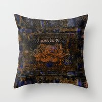 fire emblem Throw Pillows featuring Emblem by Heidi Fairwood