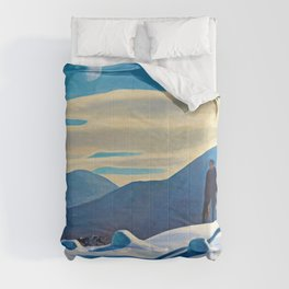 The Trapper, Winter Mountain landscape painting by Rockwell Kent Comforters