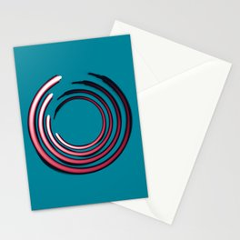 Rough red circles over blue Stationery Cards
