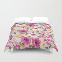 oil Duvet Covers featuring Blodau oil... by Catherine Ann Lewis