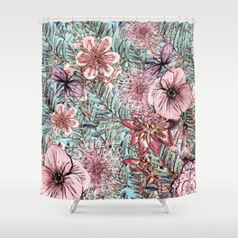 Tropical Pastel Pink Flower Hibiscus Garden Shower Curtain