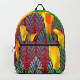 DECORATIVE RED & BLUE DECO GOLDEN CALLA  LILIES ART Backpack