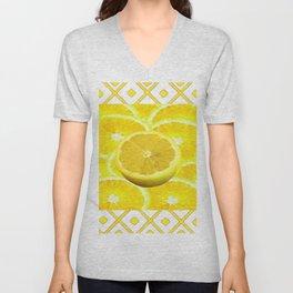 Yellow Grapefruit Pattern Art Unisex V-Neck